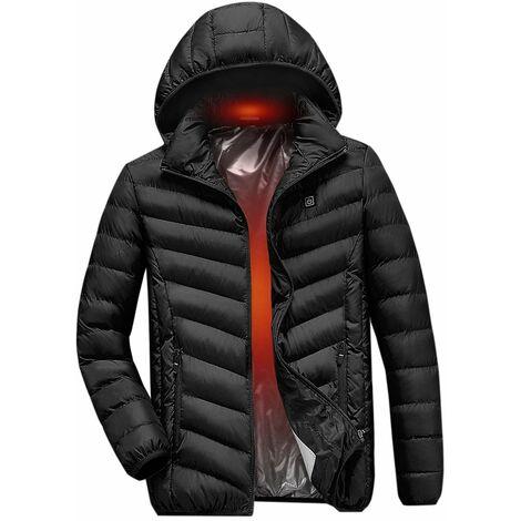 Veste En Coton Chauffant Electrique, Veste Chauffante A Chargement Usb, Noir, Taille L