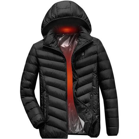 Veste En Coton Chauffant Electrique, Veste Chauffante A Chargement Usb, Noir, Taille Xl