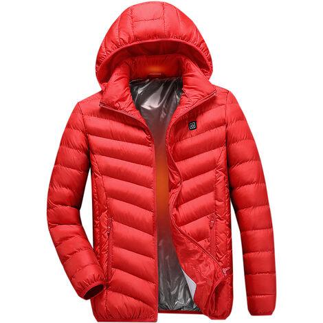 Veste En Coton Chauffant Electrique, Veste Chauffante A Chargement Usb, Rouge, Taille S