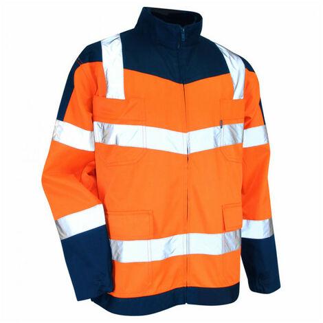 Veste Haute Visibilité orange / bleu nuit sans metal LMA - plusieurs modèles disponibles