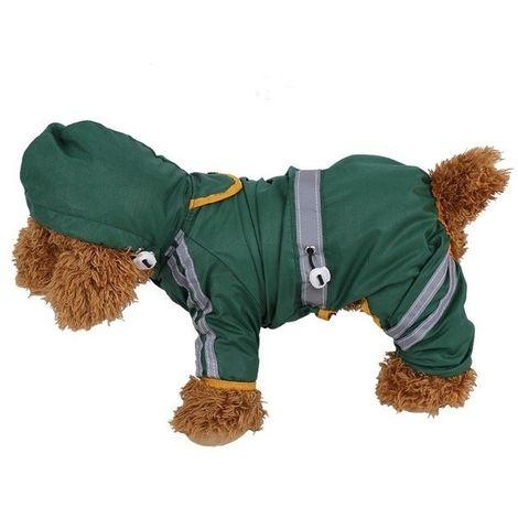 Veste Imperméable Vêtements Mode Animal De Pluie Raincoat Chiot Chien Cat Hoodie Raincoat, Taille: M (Vert)