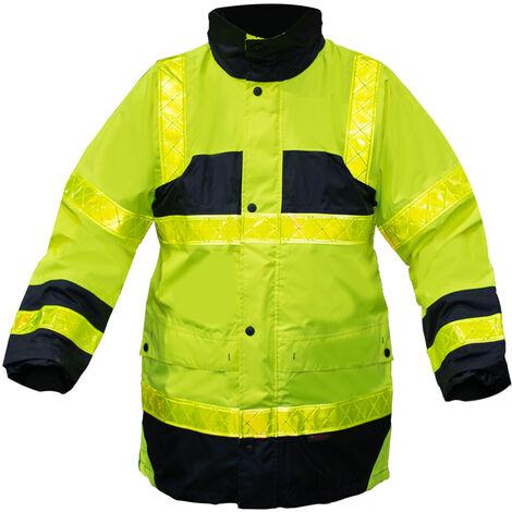 Veste Parka securite Travail haute visibilite Jaune Fluo bandes reflechissantes XL