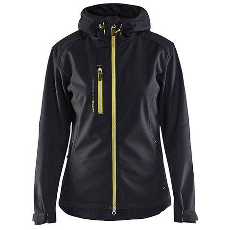 Veste softshell à capuche femme - 9933 Noir/Jaune fluo - Blaklader