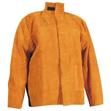 veste soudeur black cuir dos ignifuge fil kevlar taille l 17547-l