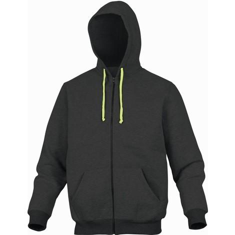 VESTE SWEAT MOLLETON DELTA PLUS POLYESTER/COTON GRIS/JAUNE- CENTOGJ0 - Taille vêtement - 38/40 (M)