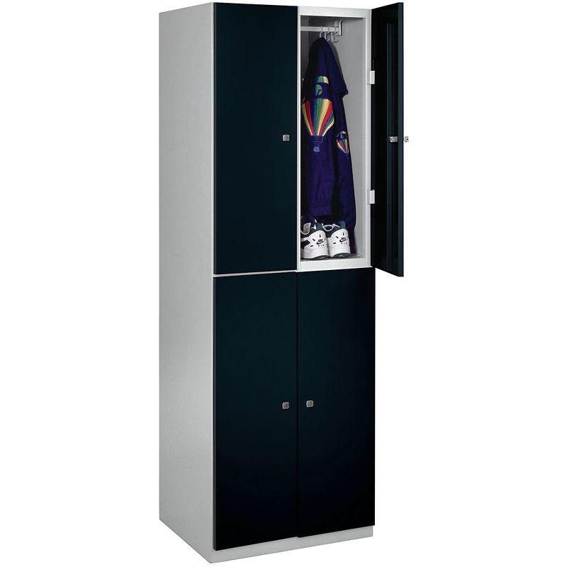 Bisley - Vestiaire - 4 casiers de 1800 x 600 x 500 mm - portes noir profond - Coloris des portes: noir profond RAL 9005