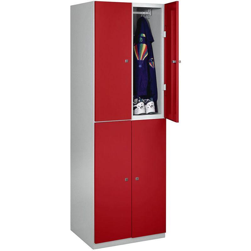 Bisley - Vestiaire - 4 casiers de 1800 x 600 x 500 mm - portes rouge feu - Coloris des portes: rouge feu RAL 3000