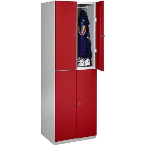 Vestiaire - 4 casiers de 1800 x 600 x 500 mm - portes rouge feu