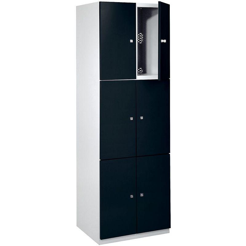 Certeo - Vestiaire - 6 casiers de 1800 x 600 x 500 mm - portes noir profond - Coloris des portes: noir profond RAL 9005