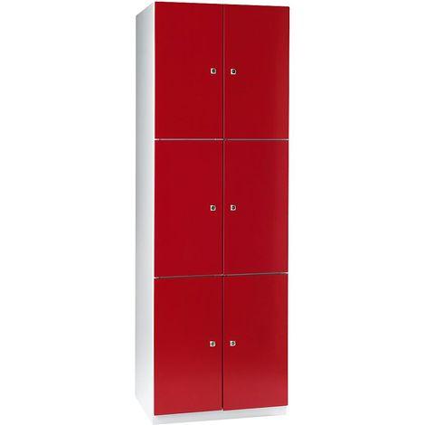 Vestiaire - 6 casiers de 1800 x 600 x 500 mm - portes rouge feu