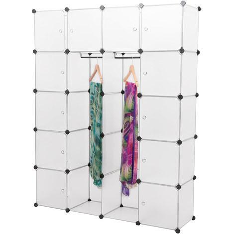 vestiaire à 12 compartiments système d'étagères (180 x 145 x 37cm) (blanc) étagère en PP étagère pliable étagère à vêtements étagère à linge blanc avec deux compartiments