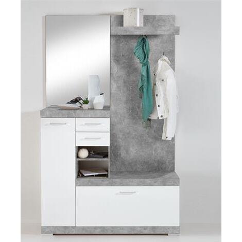Vestiaire compact avec miroir coloris gris béton LA/blanc brillant - Dim : L120 x H193,5 x P35,5 cm -PEGANE-