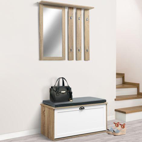 vestiaire d 39 entr e luxe en bois blanc et h tre meuble. Black Bedroom Furniture Sets. Home Design Ideas