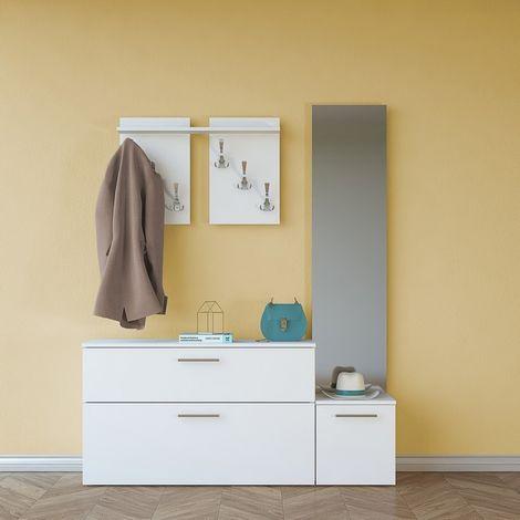 Vestiaire - Meuble d'Entree Elisabeth Porte-Manteau - avec Miroir, Portes, Compartiments - Blanc en Bois, 137 x 35 x 172 cm