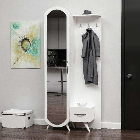 Vestiaire - Meuble d'Entree Kerry Armoire - avec etageres a Chaussures, Miroir, Porte, Tiroir - Blanc en Bois, 80 x 35 x 180 cm