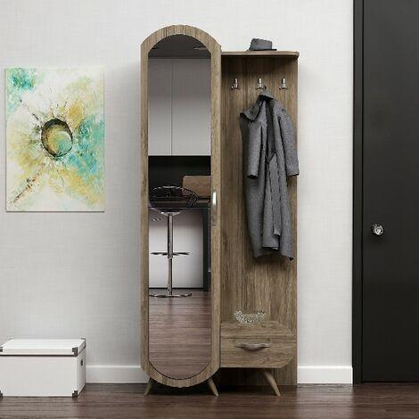 Vestiaire - Meuble d'Entree Kerry Armoire - avec Miroir, Portes, etageres - Noyer en Bois, 80 x 35 x 180 cm
