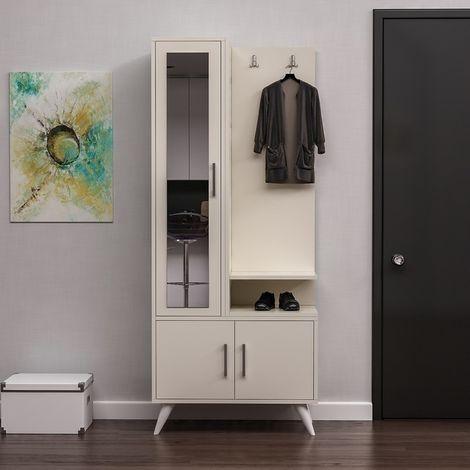 Vestiaire - Meuble d'Entree Safir Armoire - avec etageres a Chaussures, Miroir, Portes, etageres - Creme en Bois, 75 x 40 x 180 cm