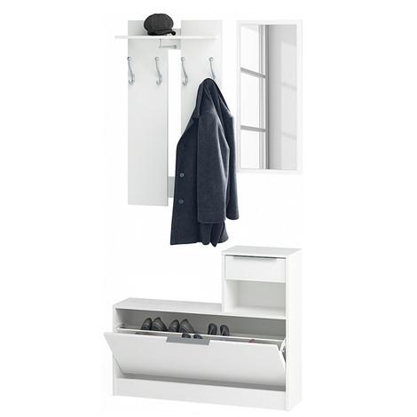Vestiaire + Miroir, 1 tiroir et 1 abattant en bois Blanc Perle