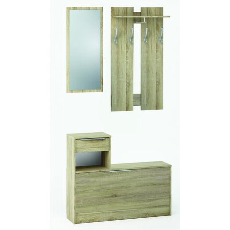 Vestiaire + Miroir, 1 tiroir et 1 abattant en bois Chêne Brossé