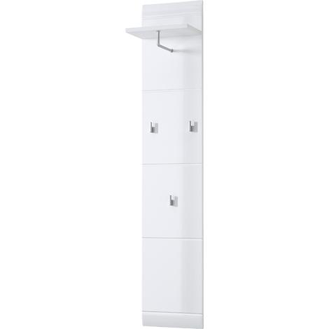Vestiaire ouverte en bois MDF laqué blanc - Dim : L 30 x H 152 x P 23