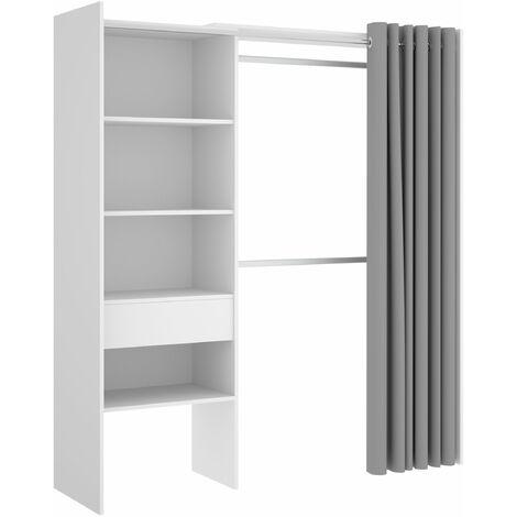 Vestidor con 1 cajón y cortina Suite 160-110 cm Blanco