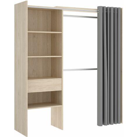 Vestidor con 1 cajón y cortina Suite 160-110 cm Roble