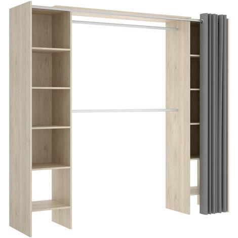 Vestidor Dormitorio o Recibidor CORTINA, 10 baldas y barra colgar, medidas: Alto: 187 cm x Ancho: 140 cm