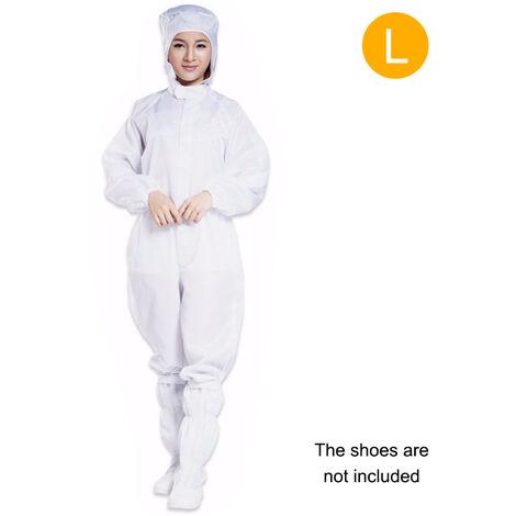 Vetements Anti-Statiques Salopettes Avec Capuchon Blanc Code L Costume (Sans Chaussures)