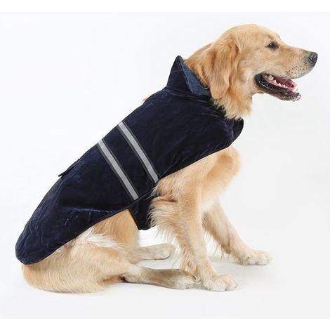 Vêtements bleu marine pour Animal de compagnie Chien Coton Vêtement avec ruban réfléchissant, Taille: L, Buste: 64-72cm, Cou: 39