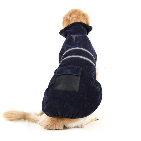 Vêtements bleu marine pour Animal de compagnie Chien Coton Vêtement avec ruban réfléchissant, Taille: M, Buste: 52-59 cm, Cou: 3