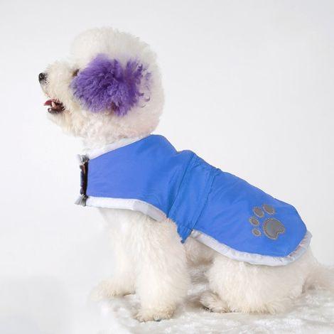 Vêtements bleu vêtement de coton de chien d'automne et d'hiver de style avec le ruban réfléchissant, taille: S, buste: 38-43cm,