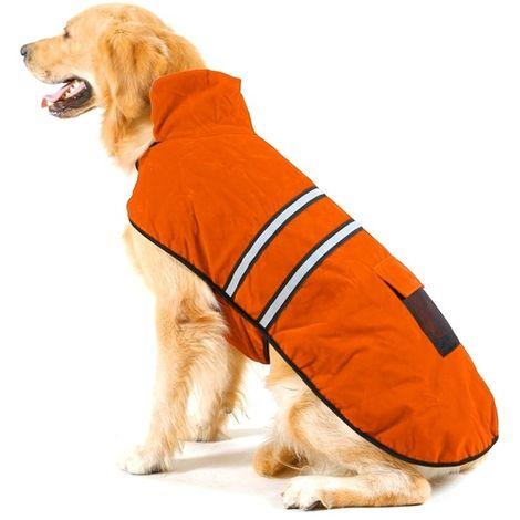 Vêtements Orange pour Animal de compagnie Chien Coton Vêtement avec ruban réfléchissant, Taille: L, Buste: 64-72cm, Cou: 39-44cm
