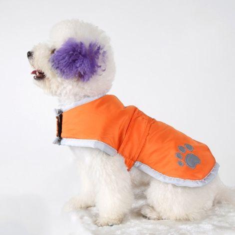 Vêtements Orange vêtement de coton de chien d'automne et d'hiver de style avec le ruban réfléchissant, taille: S, buste: 38-43cm