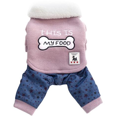 Vetements Pour Animaux Dog Sweat-Shirts En Coton Vestes D'Hiver Cat Douce Et Chaude Vetements Chiens Jumpsuit Motif Etoile Bouton Animaux Manteau Pour Animaux Petites Et Moyennes, Rose, Xl