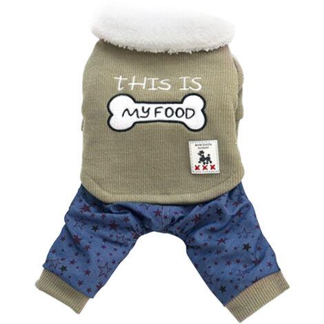 Vetements Pour Animaux Dog Sweat-Shirts En Coton Vestes D'Hiver Cat Douce Et Chaude Vetements Chiens Jumpsuit Motif Etoile Bouton Animaux Manteau Pour Animaux Petites Et Moyennes, Vert, S