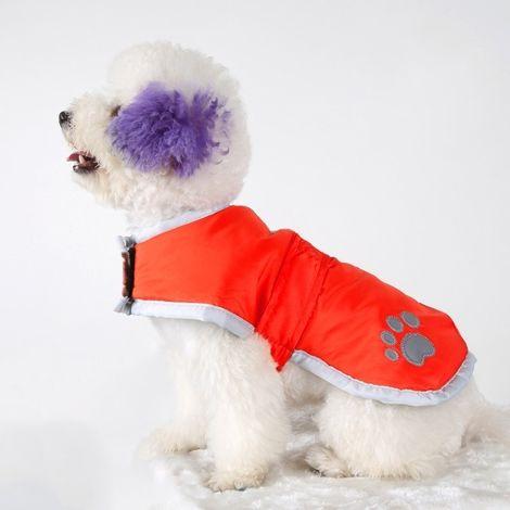 Vêtements rouge vêtement de coton de chien d'automne et d'hiver de style avec le ruban réfléchissant, taille: S, buste: 38-43cm,