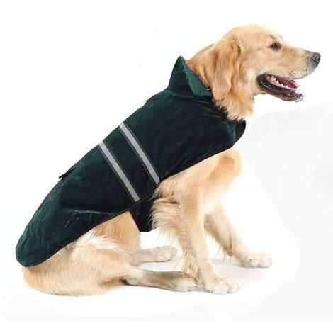 Vêtements vert pour Animal de compagnie Chien Coton Vêtement avec Ruban réfléchissant, Taille: M, Buste: 52-59 cm, Cou: 33-37 cm
