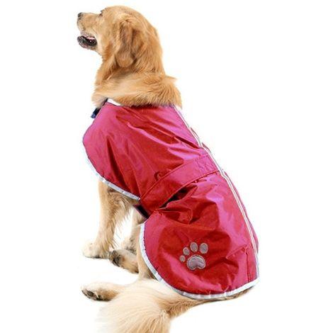 Vêtements vin rouge Automne et Hiver Style Oren Retriever Labrador Huge Chien Coton Vêtement avec ruban réfléchissant, Taille: X