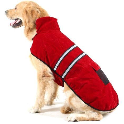 Vêtements vin rouge pour Animal de compagnie Chien coton vêtement avec ruban réfléchissant, Taille: M, buste: 52-59 cm, cou: 33-