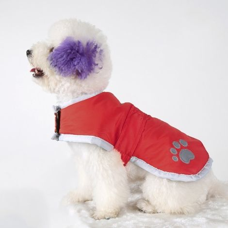 Vêtements vin rouge vêtement de coton de chien d'automne et d'hiver de style avec le ruban réfléchissant, taille: S, buste: 38-4