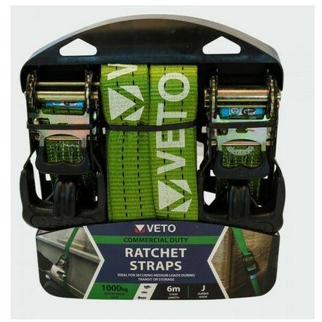 Veto 6RS2J J Hook Ratchet Straps Commercial Duty 6m x 35mm Pack of 2