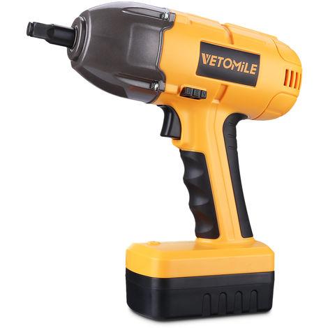 VETOMILE Cl/é /à Chocs sans fil 18V 400NM Boulonneuse /à Choc avec une Batterie Lithium-ion 18V//1,5Ah et Douilles livr/é en coffret avec chargeur 17 mm//19 mm et 21mm//23mm