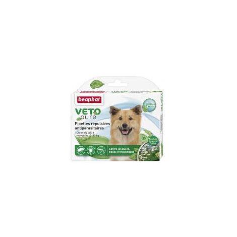 Vetopure, pipettes répulsives antiparasitaires, chien de taille moyenne - 3 x 2 ml