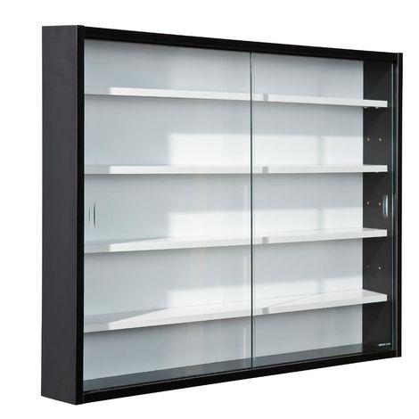 Vetrinetta bacheca sospesa 2 ante in vetro 80x9,5xh60cm nera collezionismo  99800