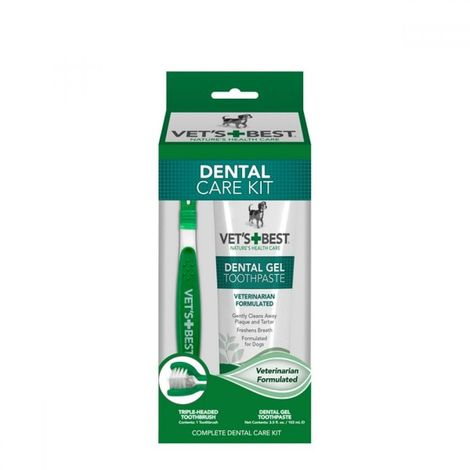 Vets Best Dog Dental Care Kit Gel Liquid And Toothbrush (One Size) (May Vary)