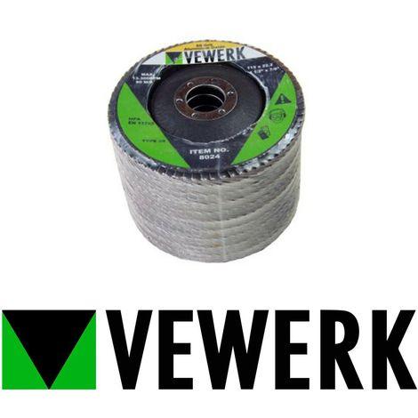 """VEWERK 10 Flap Discs 60 Grit Angle Grinder 4.5"""" 115mm Flat Sanding Grinding 8024"""