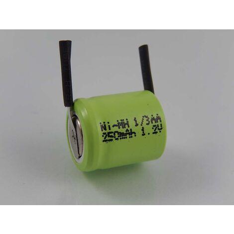 vhbw 1/3AA NI-MH Pila 250mAh (1.2V) terminal de soldadura U para modelismo, lámparas solares, teléfonos, etc.