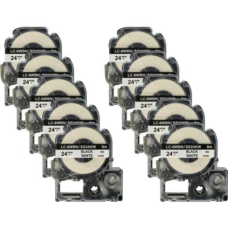 vhbw 10 x cartridge label tape 24mm for KingJim SR330, SR3900C, SR3900P, SR530, SR530C, SR550, SR6700D, SR750, SR950 replaces LC-6WBN, SS24KW.