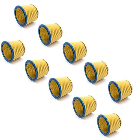 vhbw 10x Filtre rond / filtre en lamelles pour aspirateur Einhell Inox 1250/1, Inox 1400, Inox 1450WA, Inox 1500, Inox 30 A