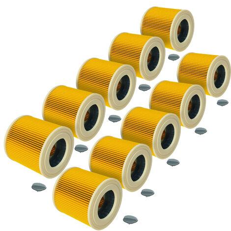 vhbw® 10x Filtros de cartucho / Set filtros aspiradoras Kärcher / aspiradora de mojado / aspiradora industrial / aspiradora mojado - seco / multiusos